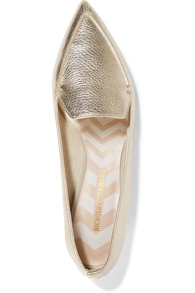77ea73eca62 Nicholas Kirkwood - Beya Metallic Textured-leather Point-toe Flats - Gold
