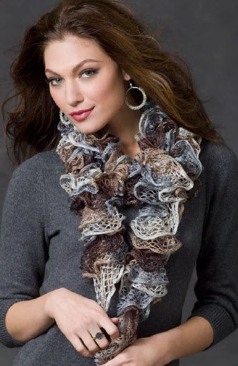Red Heart Sashay Smoky Swirls Scarf Knit Pattern Moore Knit
