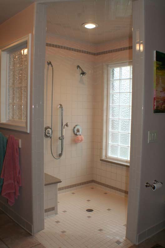 Spacious Barrier Free Shower Drenched In Natural Light