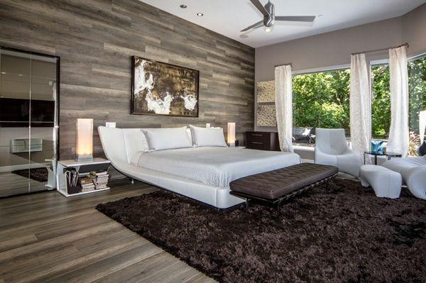 chambre contemporaine avec mur et plancher en bois | Chambre ...