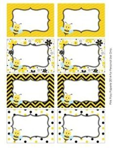Bee Theme Classroom Decor Bin Tag Labels