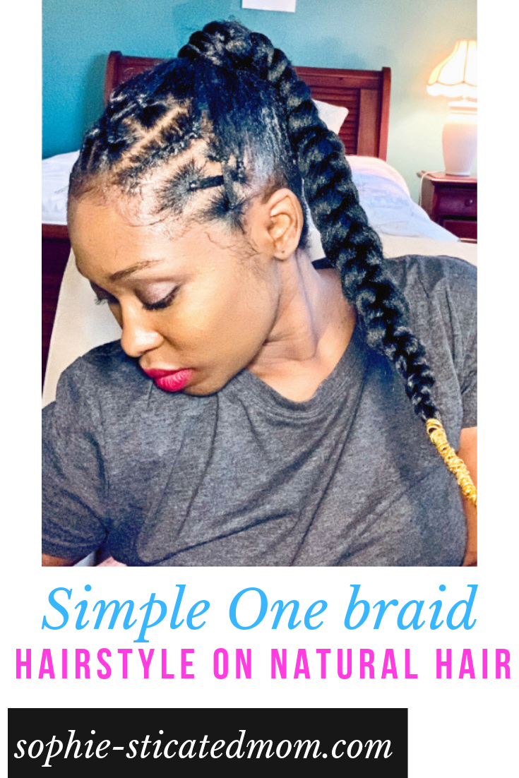 Simple One Braid Hairstyle On Natural Hair With Kanekalon Hair Kanekalon Hairstyles Ponytail Prot Natural Hair Styles Kanekalon Hairstyles Braided Hairstyles
