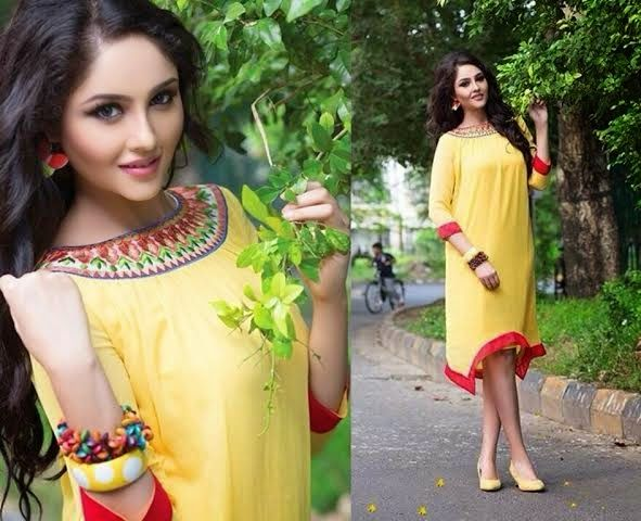 Very Elegant Looking Yellow Georgette Kurti with beautiful red thread Embroidery on neckline. Comes with santoon innner and is available in L, XL, XXL size.
