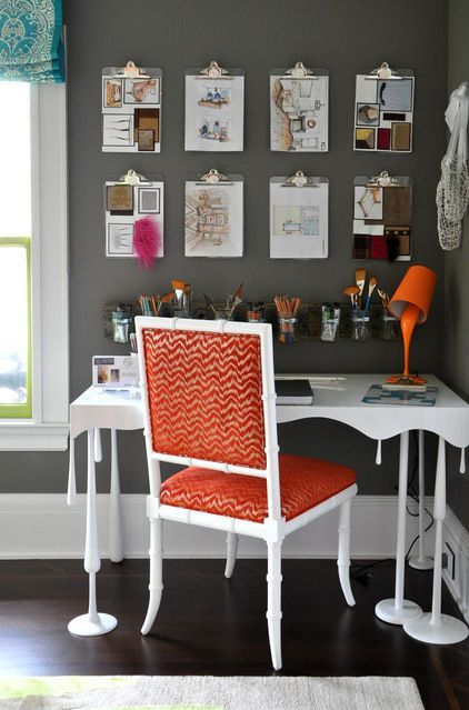 """Use clipboards instead of inspiration board so each project can have it's own space. Acrylic clipboards are perfect too...would look great on a colored wall or be """"blank canvases"""" on a white wall."""