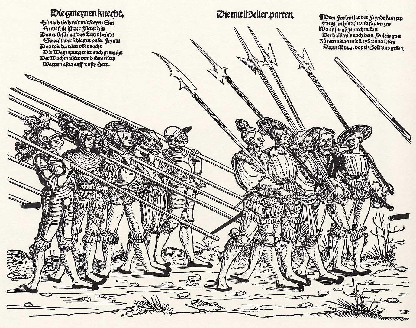 Der Heereszug der Landsknechte. Blatt 8, Die gemeynen Knecht und die mit Heller-Parten (um 1535)