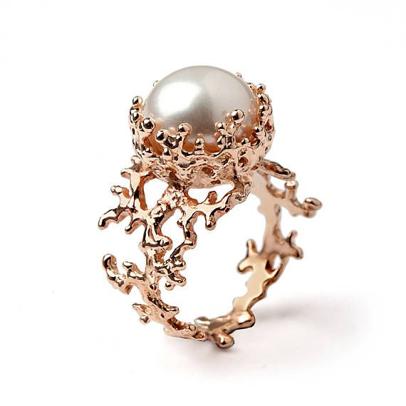 Coral Pearl Ring Rose Gold Ring Pearl Engagement Ring Rose Gold