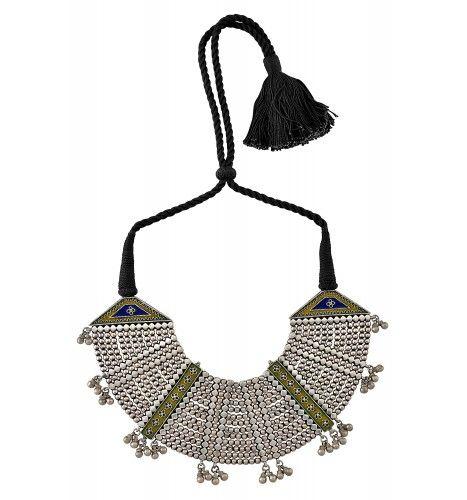 Silver Oxidised Enamelled Interlinked Bead Thread Necklace