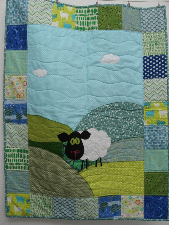 02cead8dd6b6eb Sheep Quilt in blues   greens by pippabluebaby on Etsy