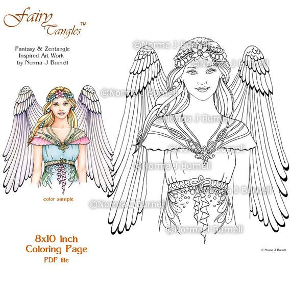 angle fairy tangles adult printable coloring pages by norma j burnell coloring sheets angels to color printable angels coloring book pages
