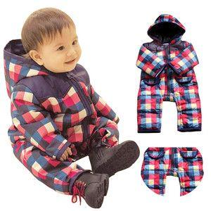Baby Toddler Boys Cotton Snowsuit Hoodie Winter Coat One-Pieces Romper 9-24 M | eBay