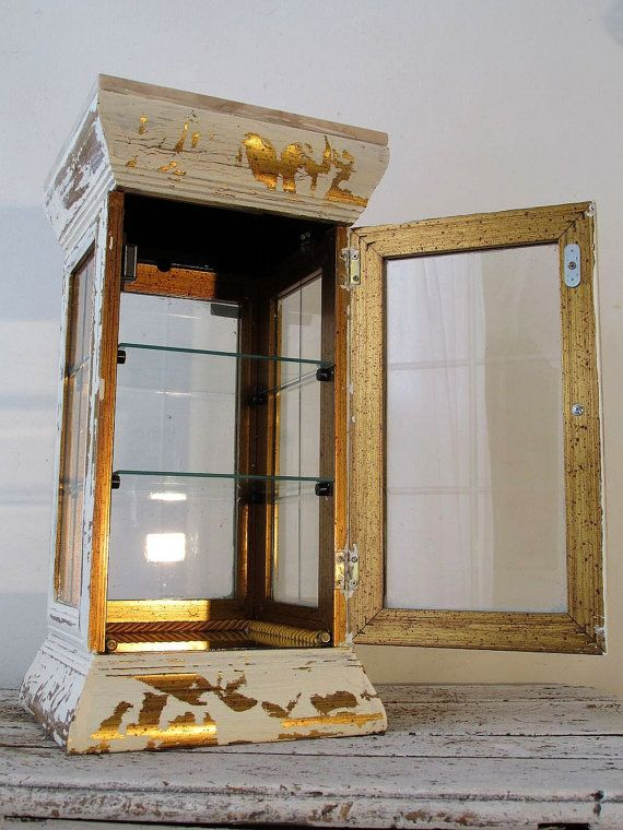Large display case glass and wood vintage by AnitaSperoDesign