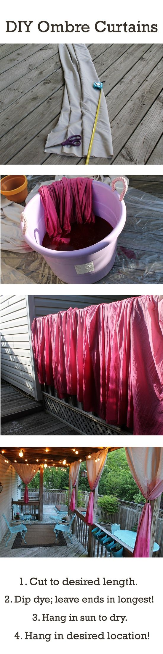 DIY Ombre curtains for our back porch :) - Click image to find more Home Decor Pinterest pins