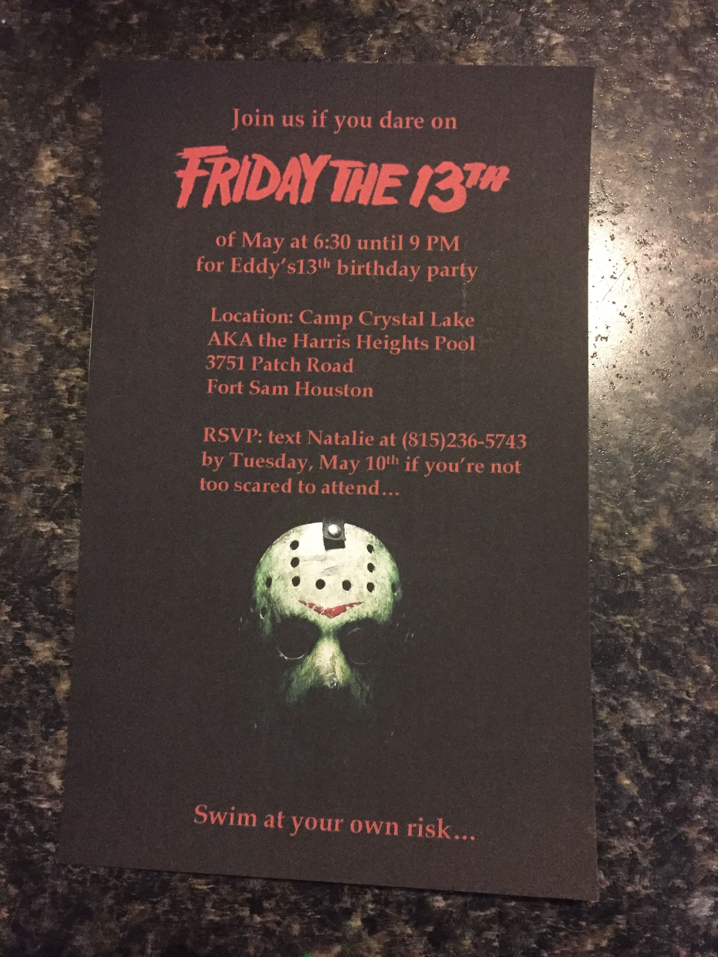 The invitations I made for Eddy\'s party.   Eddy\'s Friday the 13th ...