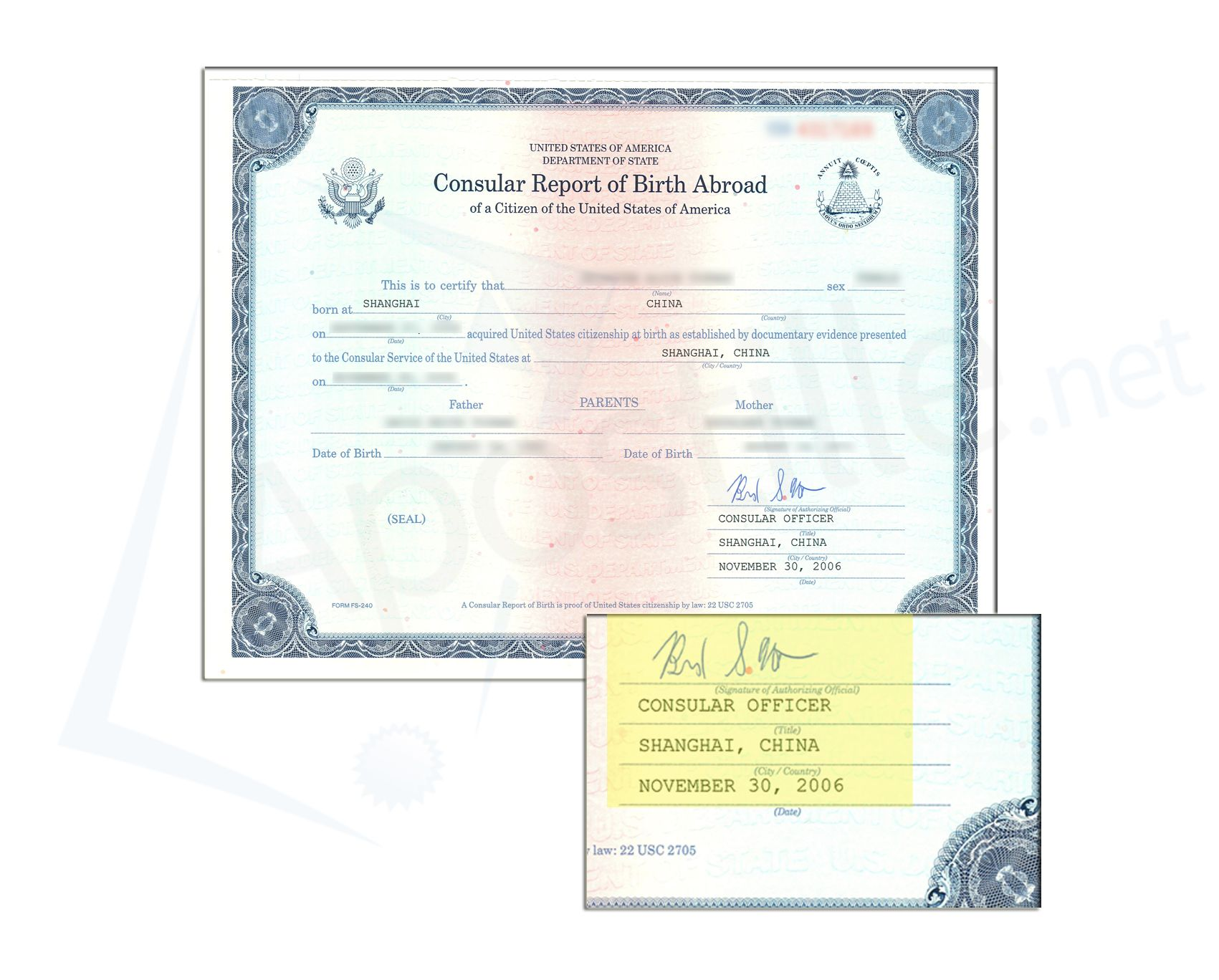 Consular Certificate Of Birth Abroad Signed By The Us Consular