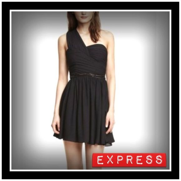 Fabulous Express One Shoulder Party Dress New Express black one shoulder ruched dress.  This crepe cocktail dress is a must. Unique one-shoulder styling that flows into the neckline, plus a rippling flared skirt and some flaw-concealing ruching, form a look that's fantastic on the dance floor. * One shoulder neckline with ruching, hidden side zip and detachable belt * Sweetheart neckline with inset shoulder strap detail * Fitted bodice with side seam ruching * Flared skirt, fully lined…