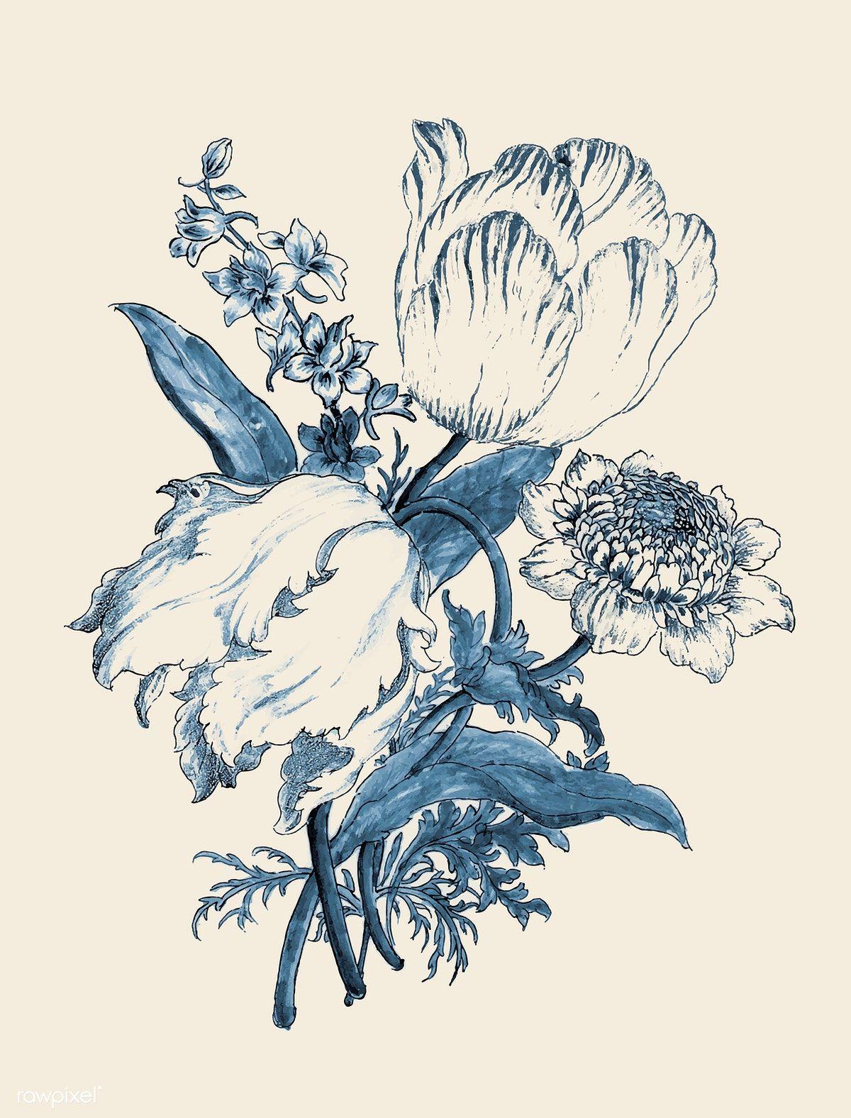 Download Premium Vector Of Vintage Flower Vector Remix From Original In 2020 Flower Illustration Flower Artwork Illustration Wall Art