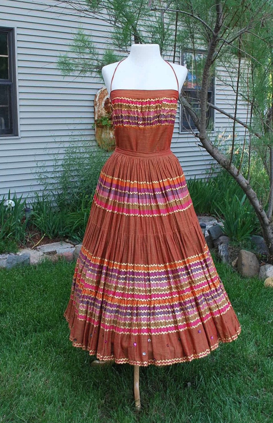 1950's Halter and Circle Skirt by govintagego on Etsy