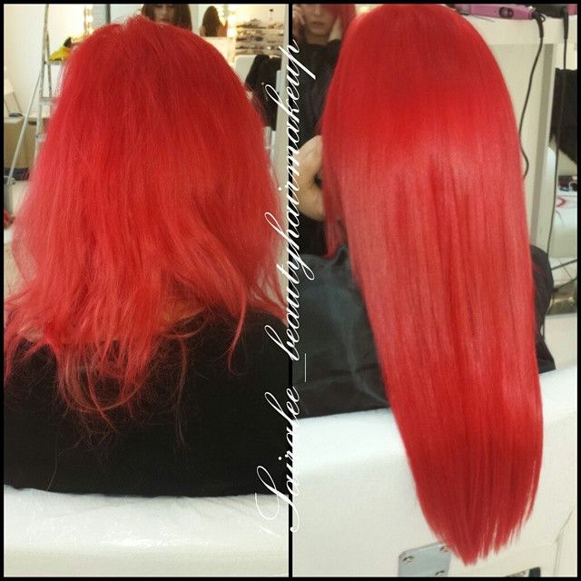 Full Head Of Bright Red Keratin Bonded Hair Extensions Hair Styles