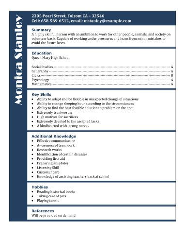 Volunteer position application - Free Resume Template by Hloom - resume templates for teens