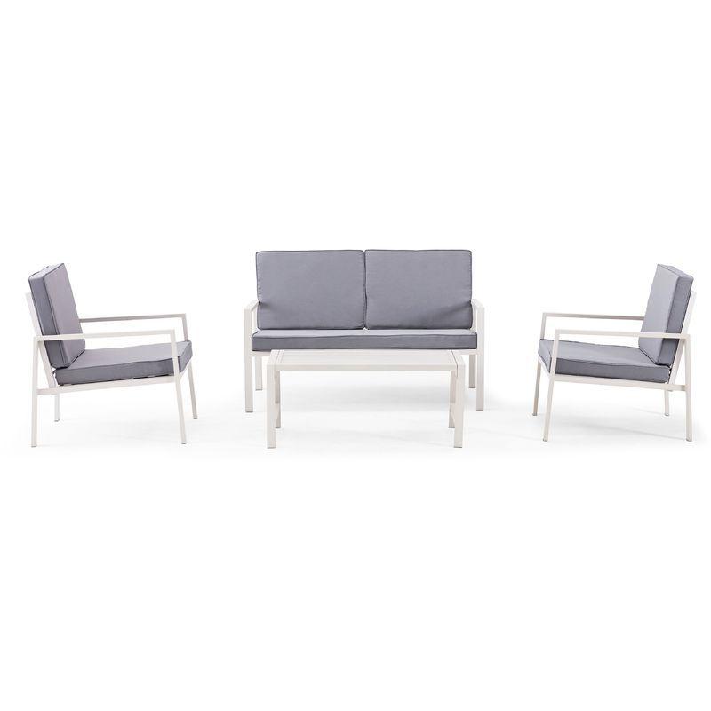 Salon De Jardin 4 Places En Aluminium Blanc 104752 Home