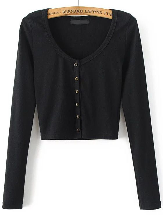 sneakers world-wide free shipping best quality for Shop Black Round Neck Button Up Crop Cardigan online. SheIn ...