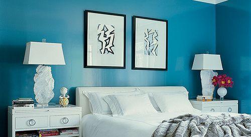 Turquoise blue + white bedroom from Elle Decor