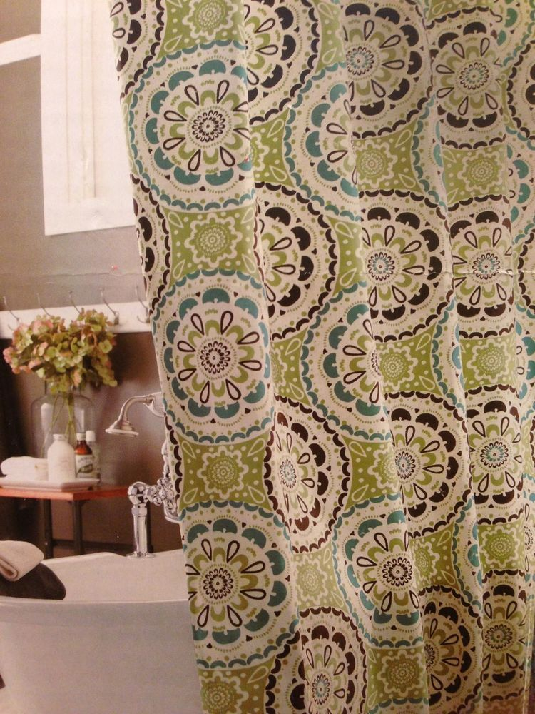 NEW COTTON FABRIC SHOWER CURTAIN GREEN FLORAL MEDALLIONS BLUE BROWN WHITE Threshold Contemporary