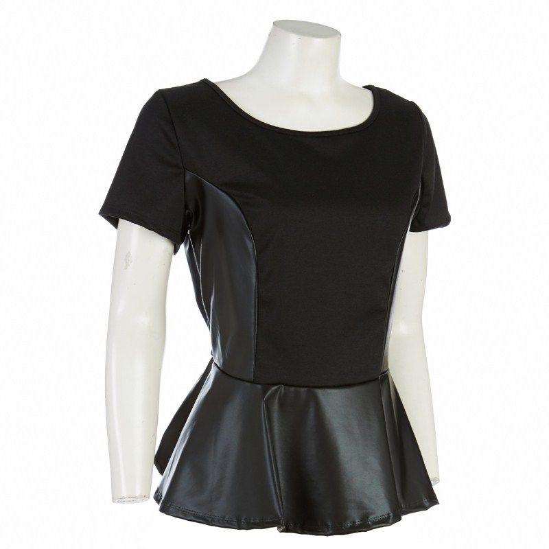 Faux Leather Peplum Top - Jr. Plus | Plus Size Fashions ...