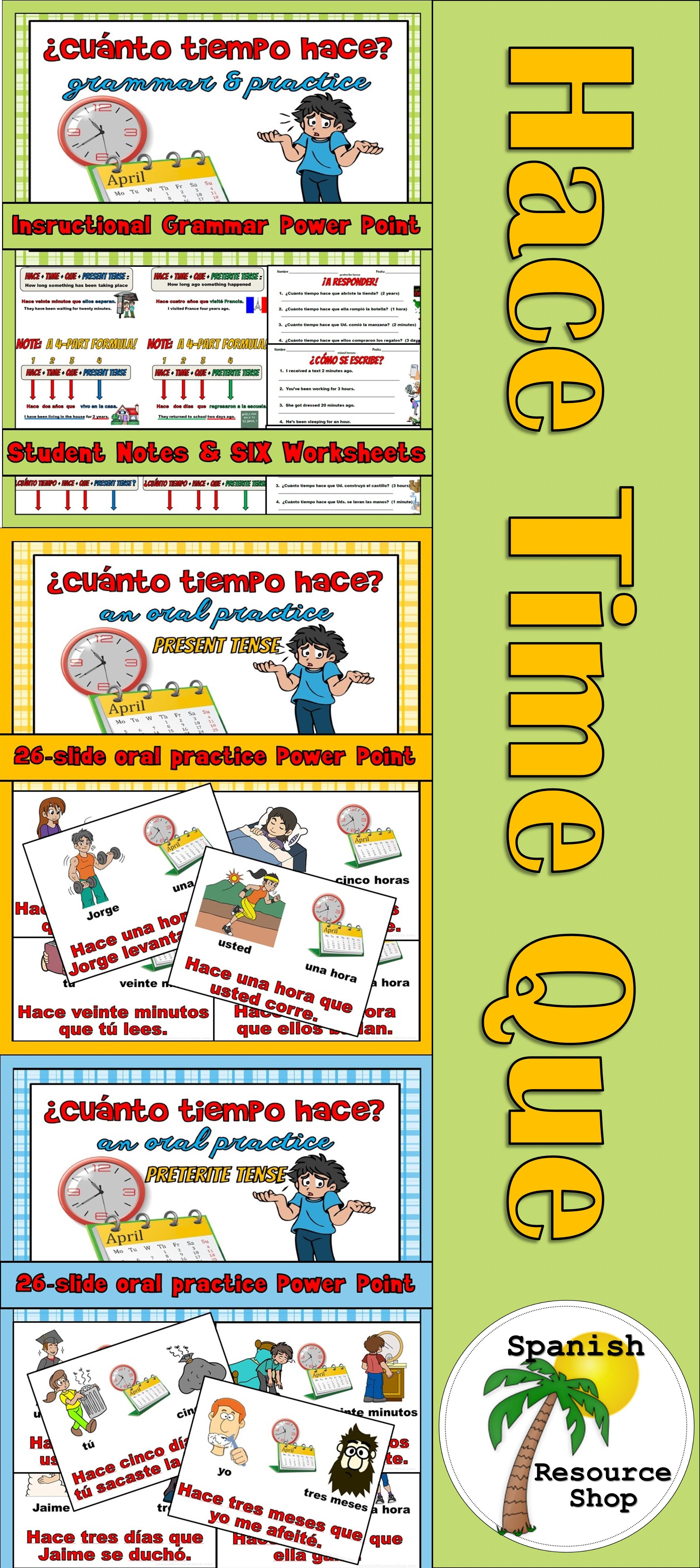 Hace Time Que Value Pack Worksheets Spanish And High School Spanish