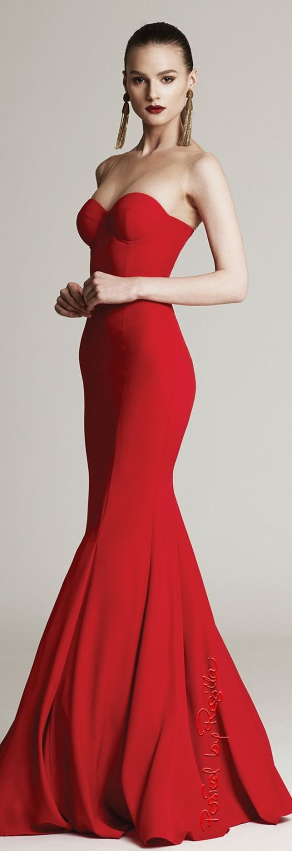 Cristina Săvulescu ~ Fall Red Strapless Mermaid Gown 2015/16 by ...