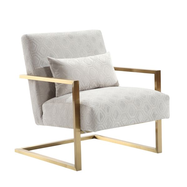 Armen Living Skyline Modern Accent Chair In Cream Chenille And Gold Metal    Overstock Shopping   Great Deals On Armen Living Living Room Chairs