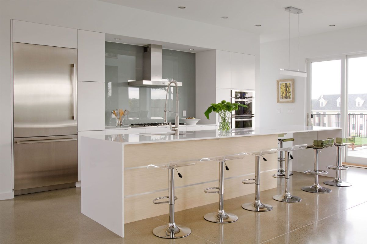 White Cabinets with Natural Wood Accents - Crystal ...