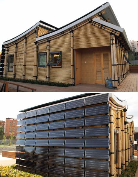 'Sunshine Inn', a solar-powered bamboo house, was made by the Chinese team from Tongli University as their official entry into the first European Solar Decathlon in Madrid. Bamboo was chosen as the main material because, as a highly renewable resource that fixes carbon into the soil, it minimizes CO2 emissions throughout the whole production phase. This beautiful structure features two curved solar panel-clad roofs and a solar-facing wall covered which is also covered in photovoltaic panels