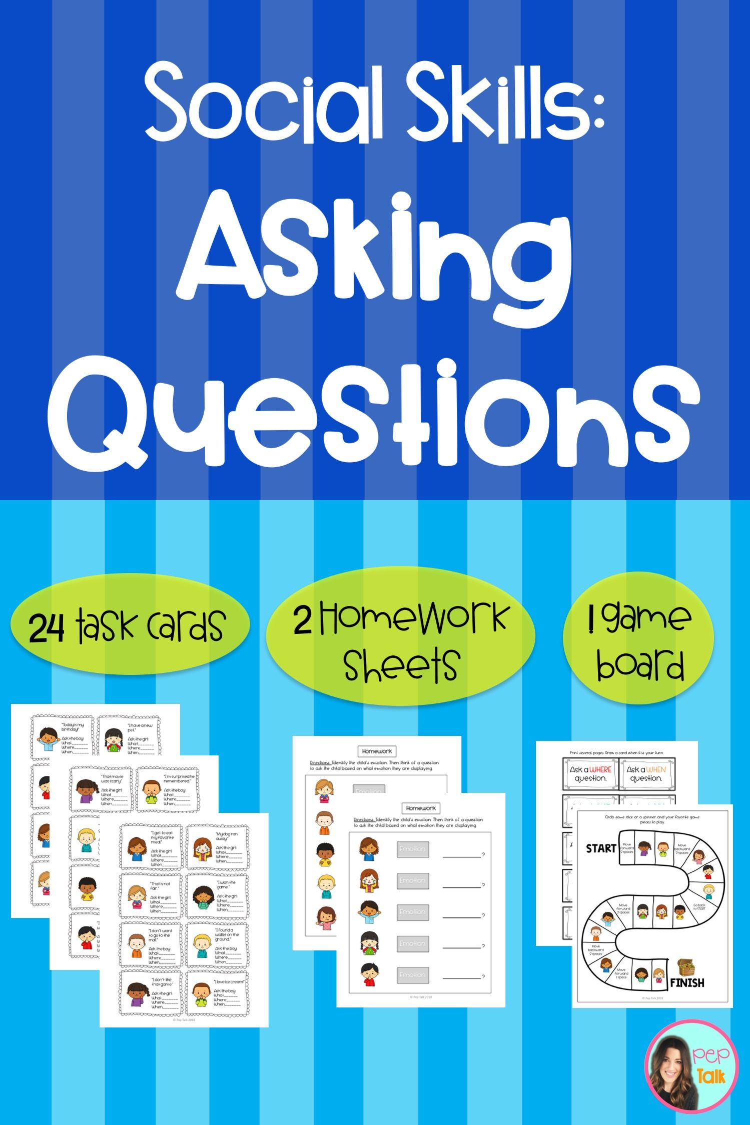 Asking Wh Questions Social Skills Task Cards Homework