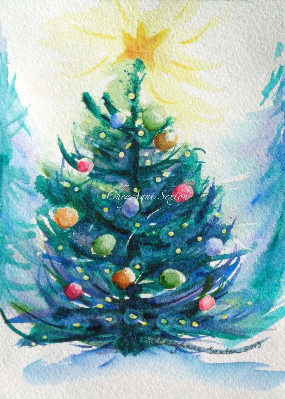 Watercolour Christmas Tree Art Multi Colored By Cheyannesexton
