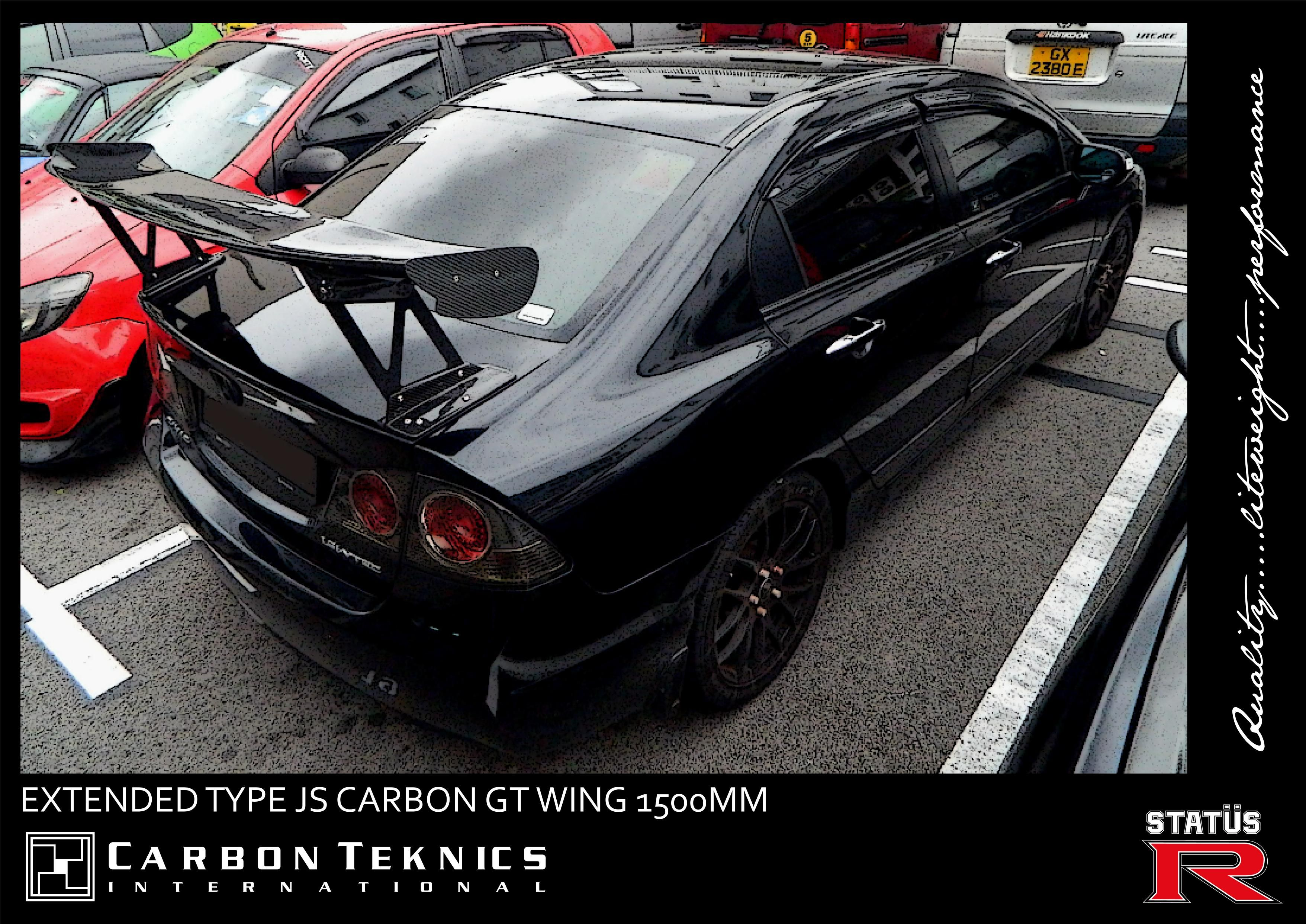 Another view of the black civic fd installed with our type js 1500mm gt wing