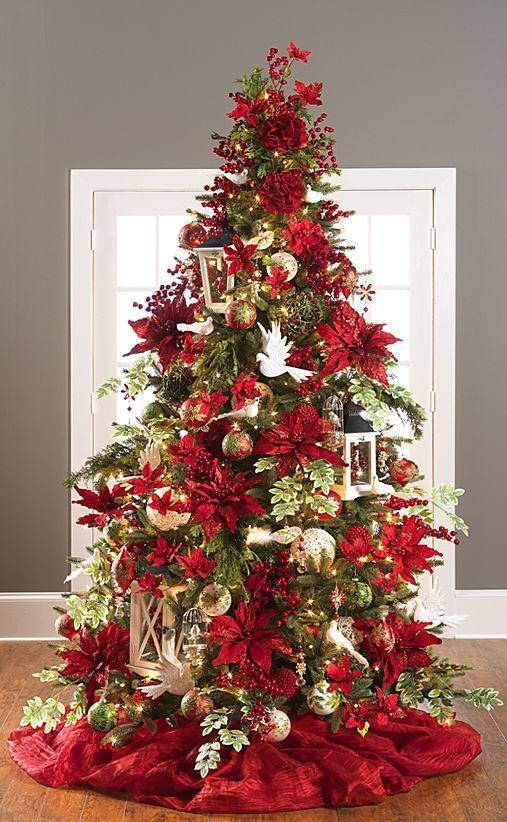 Arboles De Navidad Rojo Y Dorado Decorados 2018 Arboles De Navidad En Rojo Y D Green Christmas Tree Decorations Green Christmas Decorations Red Christmas Tree