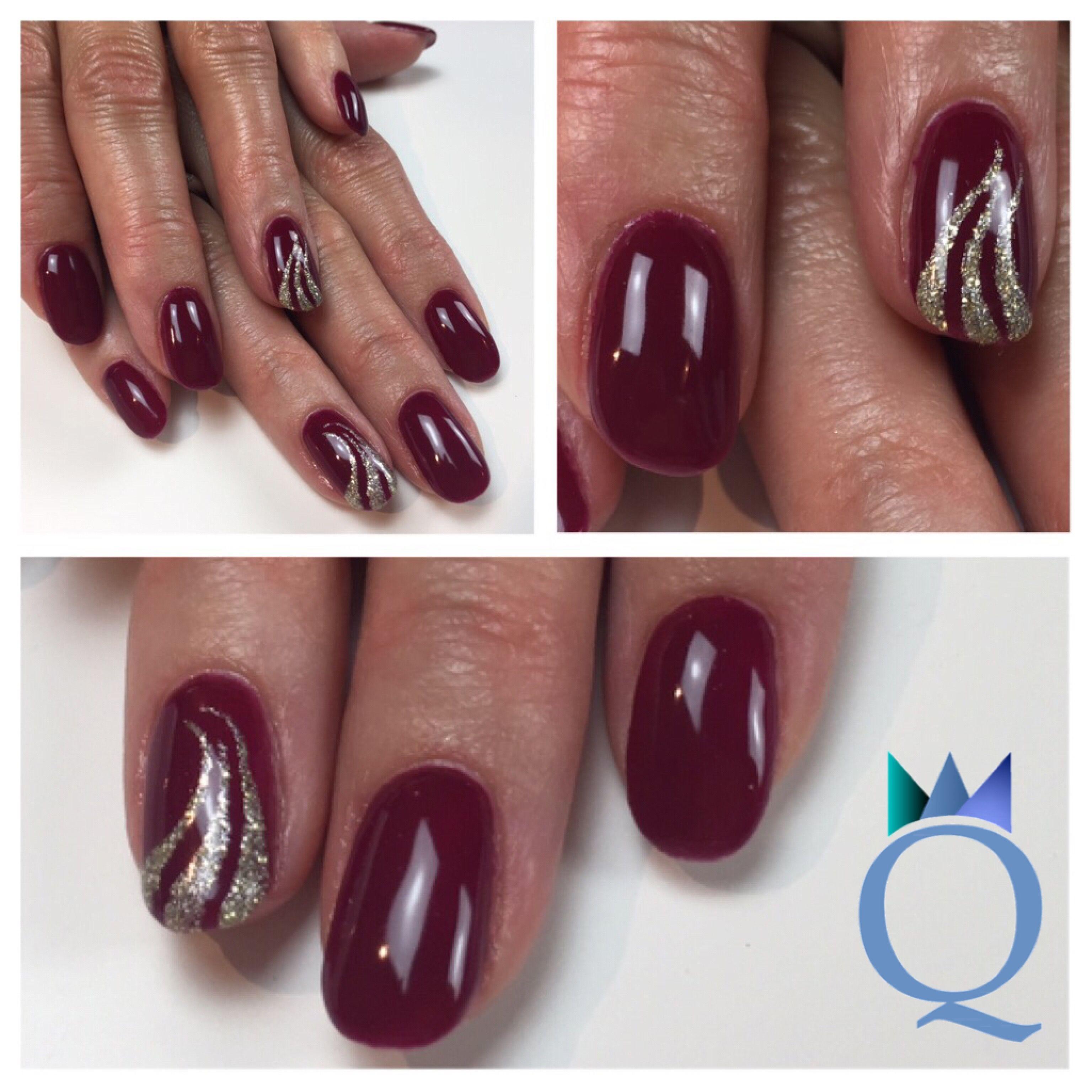 Shortnails Gelnails Nails Darkred Silver Handpainted Nailart