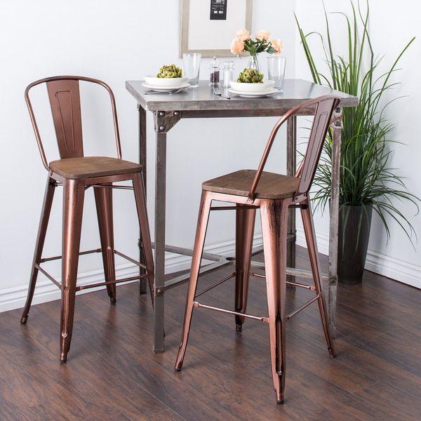 Tabouret Wood Seat Brushed Copper Bistro Bar Stool Set Of