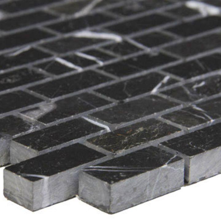 Polished Nero Marquina Black Marble Mini Brick Mosaic Tile Product Description Stone Sizes Per Piece Rectangle Pieces 1 1 4 Mosaic Tiles Black Marble Mosaic