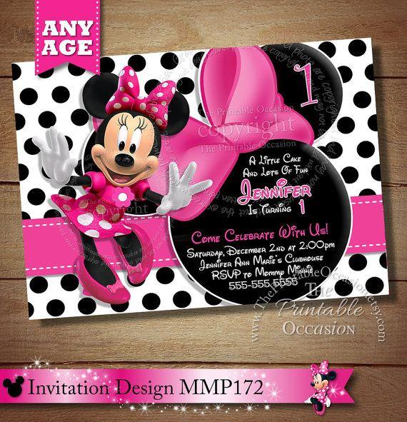 Huge Selection Black Polka Dot Minnie Mouse Birthday Invitation