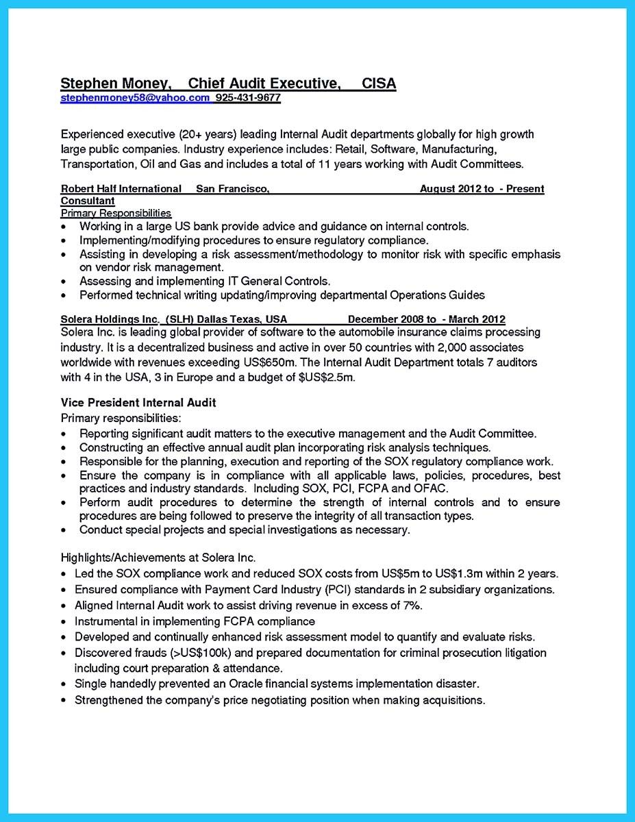 awesome Understanding a Generally Accepted Auditor Resume