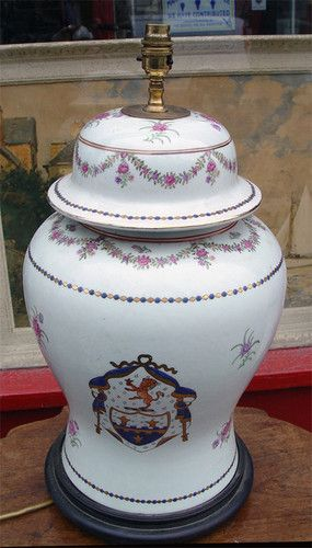 A Large Chinese Porcelain Handpainted Armorial Ginger Jar Lamp Base Ginger Jar Lamp Ginger