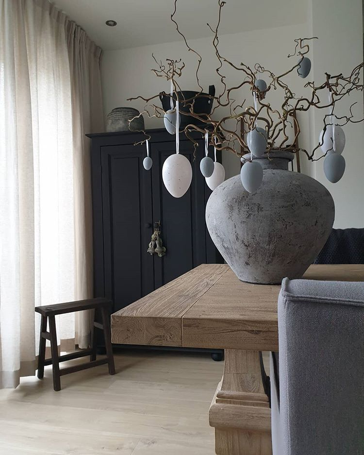 Stoer Sober Landelijk Wonen Interieur Pasen Paaseieren Diy Krijtverf Pot Kruik Interieur Thuisdecoratie Thuis