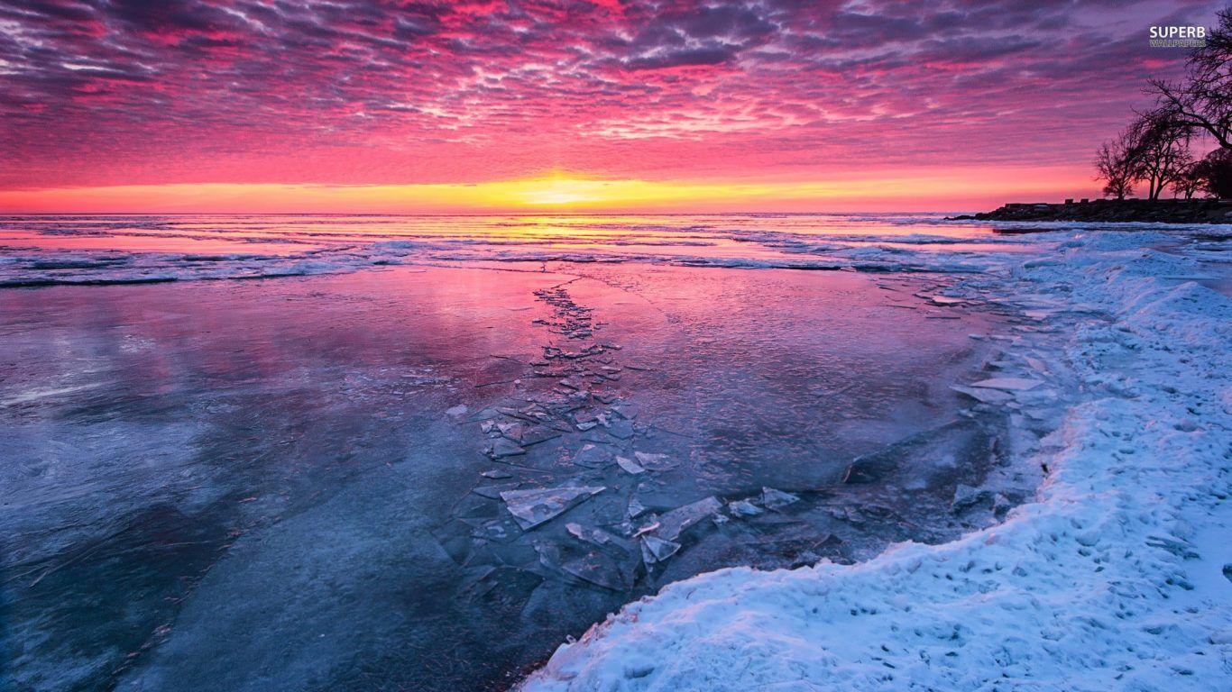 Ice Water Sky Winter Snow Frozen River Sunset Sunrise Clouds Nature Jasper Wallpaper 1920x1080 Lake Sunset Winter Lake Winter Sunset