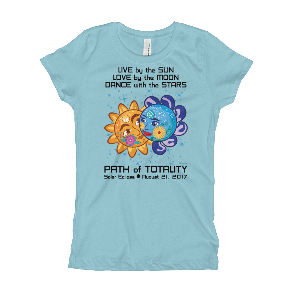 """Girl's Princess T-Shirt: """"Cinderella & Charming"""" LIVE LOVE DANCE PATH of TOTALITY Solar Eclipse August 21, 2017"""