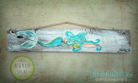 Decorative Wall Decor, Old recycled barn wood, Mermaid Signs by SheilaSmithDesigns© #mermaidsign