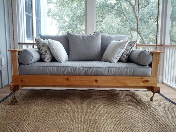 Ahh A Very Relaxing Hanging Daybed Is There Anybody Who Doesn T Want To Have This Piece Of Furniture In Thei Porch Swing Bed Daybed Swing Outdoor Hanging Bed