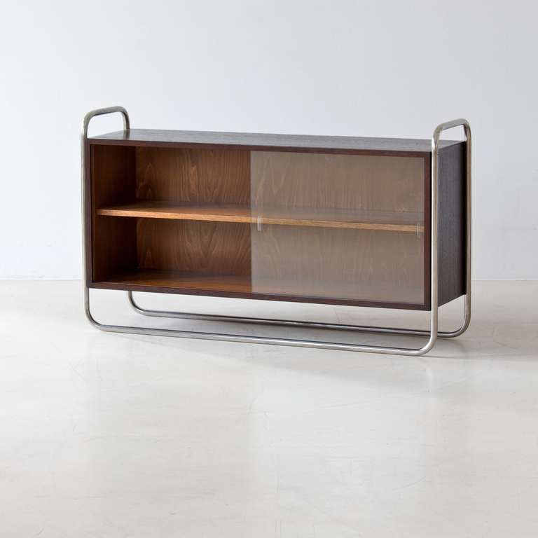 Anonymous; Chromed Metal, Wood And Glass Cabinet, 1930s