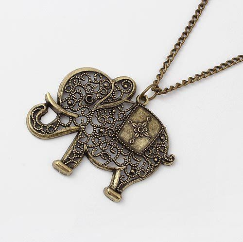 Vintage ELEPHANT Necklace Pendant  Bronze Steampunk Rhinestone Boho Hippy Chic